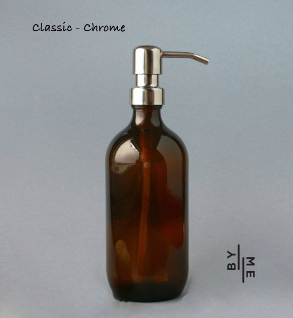 500ml amber glass bottle with chrome metal pump