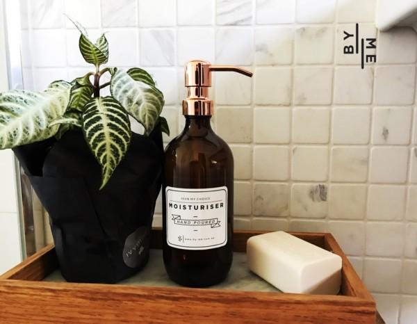 Rose Gold amber glass soap dispenser on tray