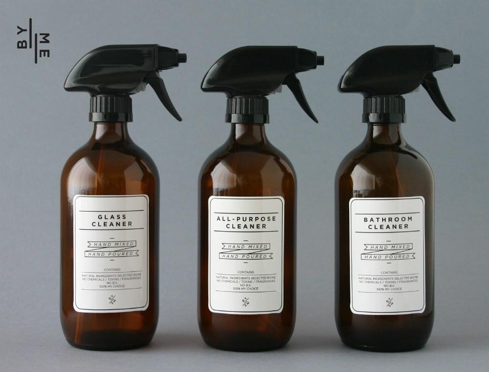 500ml Amber Glass Spray Bottles 3 Pack Set With White