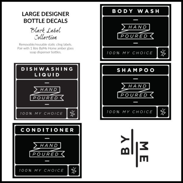 ByMe large designer bottle decals BLACK