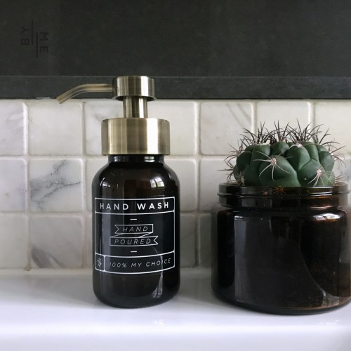 Glass foaming soap dispenser with brass pump
