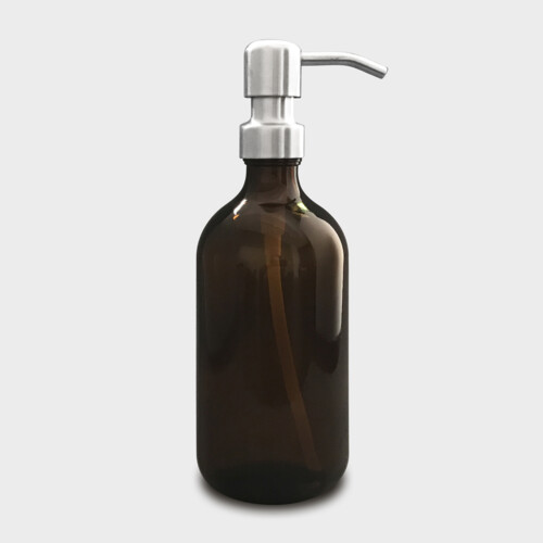 Amber glass bottle with brushed stainless steel pump