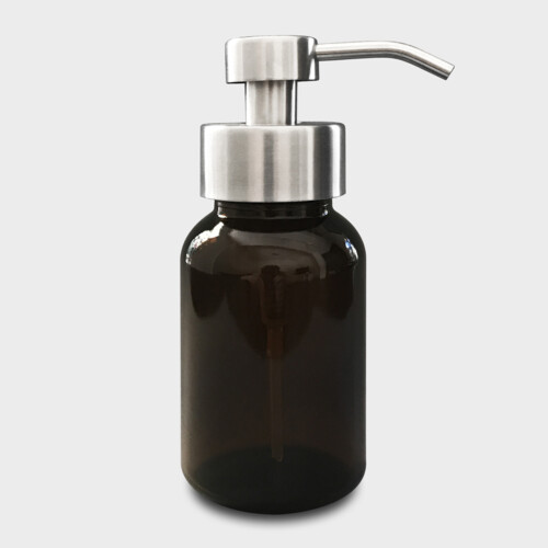 Amber Glass Soap Dispenser with Brushed Stainless Steel Pump