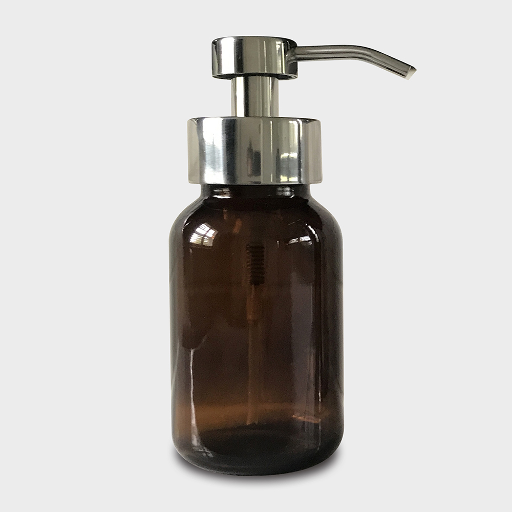 Amber Glass Foaming Soap Dispenser with Chrome Pump