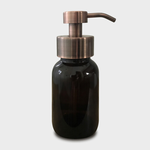 Amber Glass Foaming Soap Dispenser with Copper Pump
