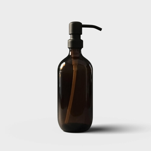 Amber glass bottle with matte black pump