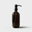 Amber glass bottle with matte black pump