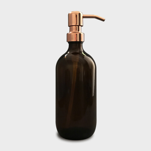 Amber Glass Bottle with Rose Gold Pump