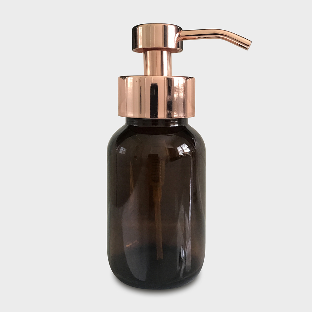 Amber Glass Foaming Soap Dispenser with Rose Gold Pump